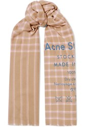 Acne Studios Cassiar Printed Checked Wool Scarf Beige