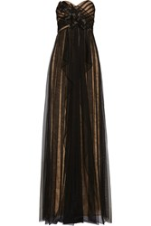 Marchesa Embellished Layered Tulle And Lace Gown Black