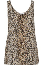 Equipment Kaylen Leopard Print Washed Silk Tank Animal Print