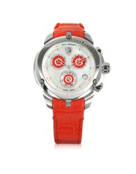 Lamborghini Shield Lady Silver Tone Stainless Steel And Red Croco Print Leather Chronograph Watch