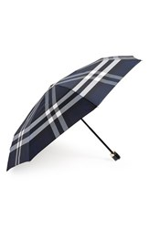 Burberry 'Trafalgar' Folding Umbrella Blue Indigo Blue