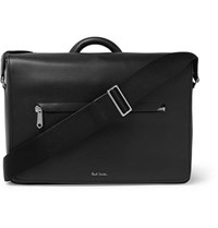 Paul Smith Contrast Tipped Textured Leather Messenger Bag Black