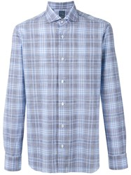 Barba Long Sleeve Plaid Shirt Men Cotton 43 Blue