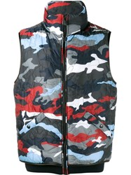 Moncler Gamme Bleu Camouflage Feather Down Gilet Blue