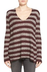 Women's Hinge Rib Knit V Neck Sweater Burgundy Stem Grey Shale