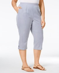 Alfred Dunner Plus Size St. Augustine Collection Seersucker Capri Pants Chambray