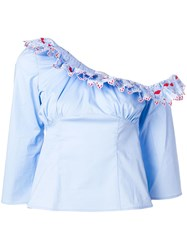 Vivetta Hand Shaped Embroidered Top Blue
