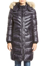 Bernardo Long Down And Primaloft Coat With Genuine Coyote Fur Trim Hood Dark Indigo