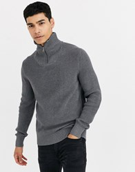 Celio High Neck Jumper With Zip In Grey