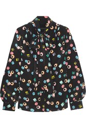 Marc Jacobs Pussy Bow Printed Silk Crepe De Chine Blouse Black
