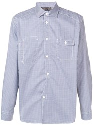 Junya Watanabe Man Patch Check Shirt Blue