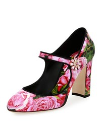 Dolce And Gabbana Rose Print Brocade Mary Jane Pump