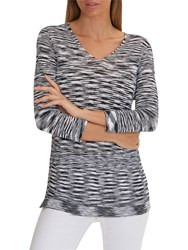 Betty Barclay Textured Tunic Top Dark Blue White