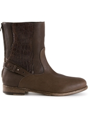 Henry Beguelin Crocodile Trim Boots Brown