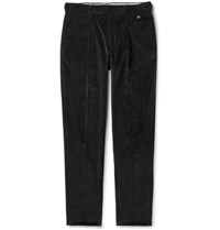 Caruso Black Tapered Pleated Cotton Blend Corduroy Trousers Black