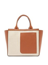 Valextra Shopping Mini Canvas And Leather Tote Bag Beige Multi