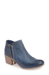 Crosstown Women's Cher Snake Embossed Bootie Denim Blue Printed Leather