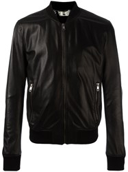 Dolce And Gabbana Perforated Leather Bomber Jacket Black