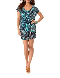 Anne Cole Knit Palm Print Mesh Tunic Green
