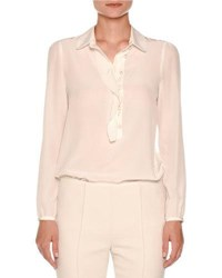 Agnona Ruffle Placket Silk Blouse White