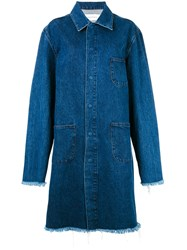 Marques Almeida Marques'almeida Mackinstosh Denim Coat Blue