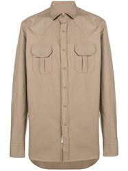 Bagutta Boxy Chest Pocket Shirt Nude And Neutrals