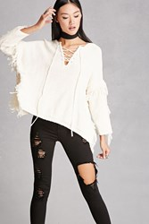 Forever 21 Blush Noir Lace Up Poncho Natural