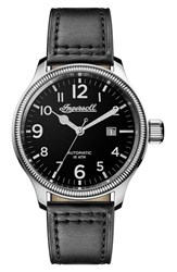 Ingersoll Watches Men's Apsley Automatic Leather Strap Watch 45Mm Black Silver