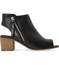 Dune Joselyn Peep Toe Leather Ankle Boots Black Leather