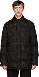 Alexander Mcqueen Black And Green Floral Print Down Jacket