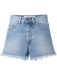 Off White Raw Edge Denim Shorts Blue