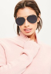 Missguided Gold Flat Lenses Sunglasses