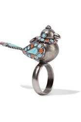 Valentino Burnished Enameled Silver Tone Ring Turquoise
