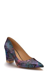 Shoes Of Prey Women's Pointy Toe Pump Purple Print Leather