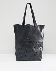 Urbancode Real Leather Shopper With Tonal Beads Black