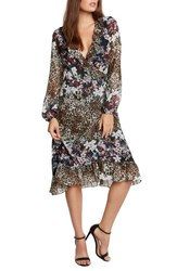 Willow And Clay Women's Animal Print Floral Wrap Dress Black