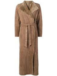 Eleventy Long Belted Coat Nude And Neutrals