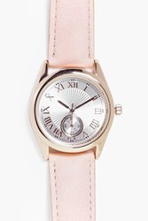 Boohoo Isabel 2 Dial Roman Numeral Pu Strap Watch Pink