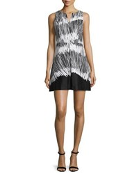 Halston Sleeveless Printed Fit And Flare Dress Black White