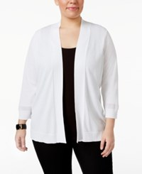 Charter Club Plus Size Open Front Cardigan Only At Macy's Bright White