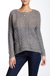 Inhabit Crew Cable Knit Wool Blend Sweater Gray