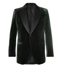 Brioni Dark Green Slim Fit Silk Satin Trimmed Cotton And Silk Blend Velvet Tuxedo Jacket