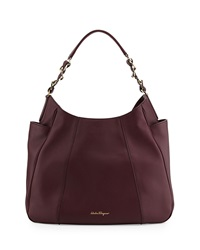 Elle Gancini Chain Leather Hobo Bag Rouge Noir Salvatore Ferragamo