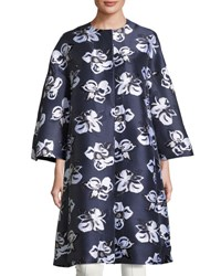 Adam By Adam Lippes Floral Jacquard Cocoon Coat Navy