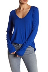 Splendid Scoop Neck Long Sleeve Tee Blue