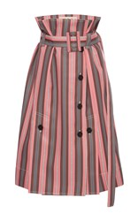 Marni Paper Bag Waist Striped Skirt Pink