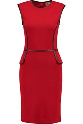 Tory Burch Violet Leather Trimmed Wool Blend Jersey Dress Red
