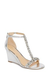 Jewel Badgley Mischka Meryl Wedge Sandal Silver Leather