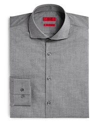 Hugo Jason Textured Slub Solid Slim Fit Dress Shirt Grey