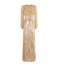 Andrew Gn Sequin Balloon Sleeve Gown Female Neutral